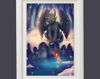 Toothless HTTYD how to train your dragon anime manga art poster pillowcase