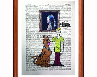 Scooby Doo vs Johannes Vermeer - dictionary art print home decor present gift Star Wars - Girl with the pearl Earring