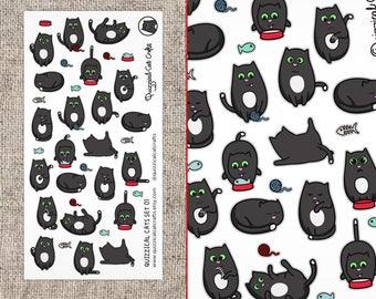 Cute Cat Stickers // Cartoon Kawaii Illustrated Cat Stickers // Cute Animals