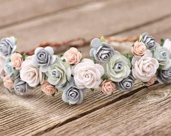 Flower Crown Light Blue, Flower Crown Blush, Wedding Hair Crown, Grey Dust Blue Floral Crown, Headpiece Blush, Flower Crown White Wedding