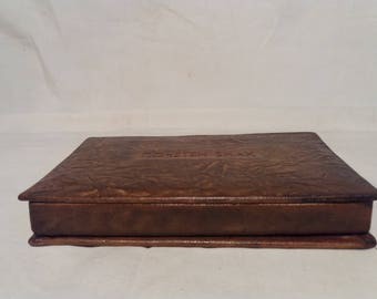 Vintage 1970's Handmade Leather Jewelry Box - Small Size
