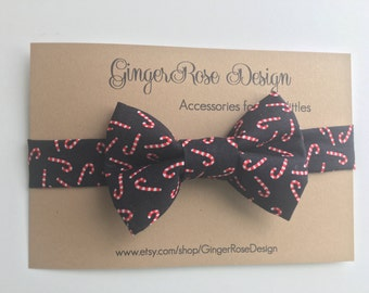 Candy cane Bow Tie; Christmas Bow Tie;  Holiday Bow Tie; Red and black Bow Tie; Toddler Bow Tie; Boy's Bow Tie; Baby Bow Tie