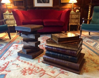 Beautiful Pair of Side Tables Occasional Tables Faux Books