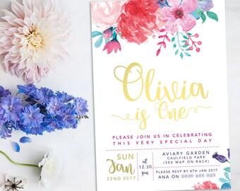 Watercolor flowers – Printable Girl 1st Birthday Invitation