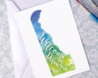 Delaware Watercolor Map Greeting Card, Welcome to Delaware Hand Lettered Text, Gift or Postcard, Giclée Print, Map Art, Choose from 5 Colors