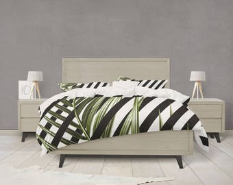 Tropical Leaf black and white striped duvet cover