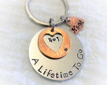 Personalized Anniversary Key Chain, 2016 Penny Key Chain, Anniversary Gift, One Year Anniversary Key Chain, Couples Gift, Husband, Wife