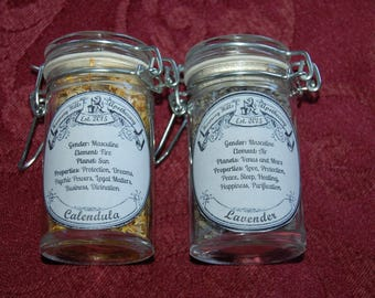 MAgiCaL FloWeRs APOTHECARY JARS with Organic Lavender and Calendula, Custom labels. Reusable glass jars.