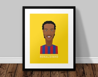 Ronaldinho Barcelona Illustrated Poster Print | A6 A5 A4 A3