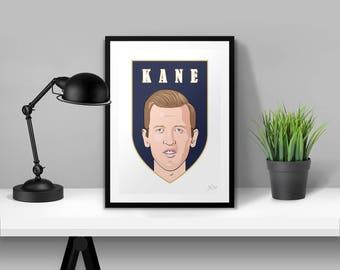 Harry Kane Tottenham Hotspurs Illustrated Poster Print | A6 A5 A4 A3