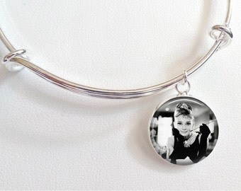 Audrey Hepburn Charm Bracelet - Breakfast at Tiffany's Charm Bracelet- Audrey Hepburn black and white photo with glove and cigarette