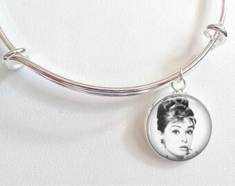 Audrey Hepburn Charm Bracelet - Breakfast at Tiffany's Charm Bracelet- Audrey Hepburn black and white photo with ciagarette