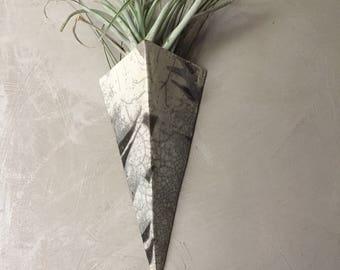 Pyramidal raku vase white