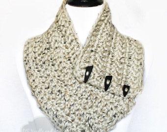 Cream Tweed Crochet Scarf, Crochet Button Cowl, Crochet Neck Warmer, Wrap, Collar Scarf - Neutral, Mid-weight, Off White, Winter White