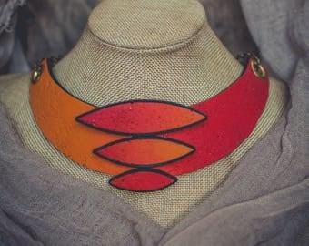 Statement necklace Bib necklace orange red black necklace Color transition fantasy necklace polymer clay necklace Large necklace