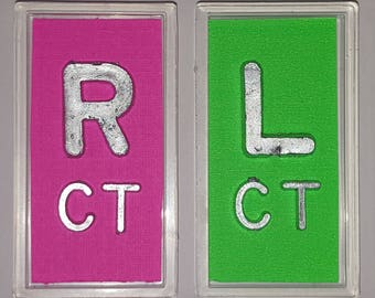 Xray markers with initials variety of colors with lead letters