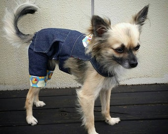 Denim Dog Overalls, Dog Suit, Dog Onesie