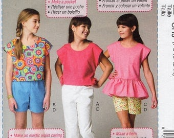 McCall's 6917 Sewing Pattern Free Us Ship Girls Beginner Learn to Sew Wardrobe Summer Top Pants Capris Size 3/6 7/14 Out of Print 2014