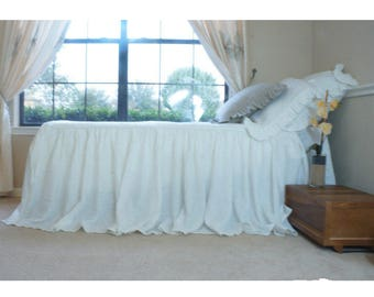 """One king size bedspread with 15"""" drop, 10"""" extra long allowing 2 pillows lay under  Two ruffle euro shams 26x26 with 3"""" ruffles on 4 sides."""