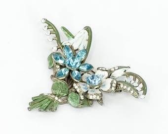 30s Flower Bouquet Brooch| Turquoise Rhinestones & Enamel