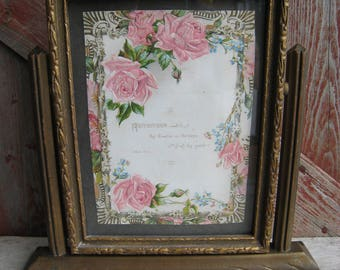 Antique Victorian Picture Frame Swivel Swing Tilt Wood w/Glass Gold Bronze Paint Vintage Embossed Card Pink Roses Shabby Chic
