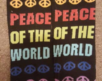 Black double sided peace of the world baby leg warmers