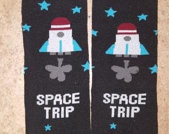 Space trip baby boy leg warmers