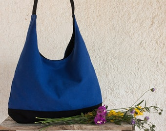 Blue slouch bag. Blue hobo bag. Shoulder bag. Dark blue handbag.  Blue hobo bag purse.