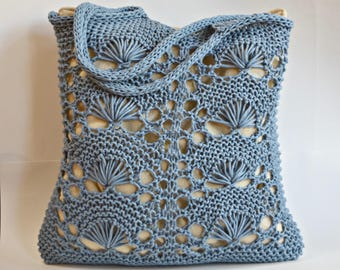Blue Cotton and Nylon Shell Lace Beach or Market Bag