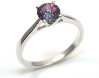 Diamond-Unique 1ct Mystic Topaz Solitaire Engagement Ring Sterling Silver (108)