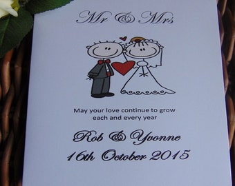 Mr Mrs Personalised Wedding Day Card Stick Figure Congratulations
