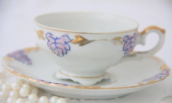 Vintage Sample Demitasse Cup and Saucer, Handpainted Purple Leaf Decor, Japan