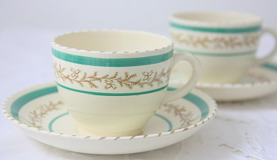 Set of Three Vintage Demitasse Cups and Saucers, Green Bands and Gilded Decor, England