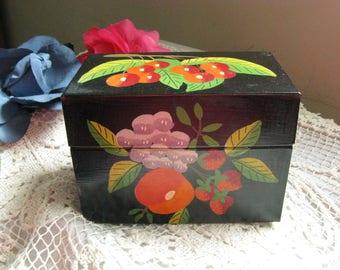 Beautiful Hand Painted Metal Recipe Box~~Mid Century Recipe Box~~Vintage Recipe Box