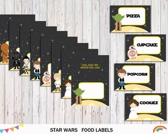 Star Wars Food Labels, Star Wars Food Tent Blank Labels, Party Tags,Superhero Party Printable file,  Instant Download