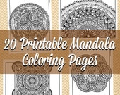 Printable Coloring Pages | Mandalas | Coloring Book for Adults | PDF Instant Download | Gifts for Her | Relaxation | Hand Drawn Illustration