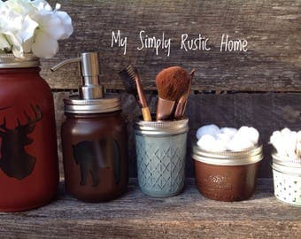Deer Jar Decor-bear jar-Cabin Decor-Mason jar bathroom set-mason jars-farmhouse decor-rustic bathroom set-soapdispenser-housewarming gift