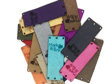 "20 Custom Ultra Suede Tags/2""x0.75""/Custom/Laser Engraved/Laser Cut/Garment Tags/Suede Tags/Ultra Suede"
