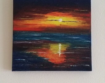 """Sunset - Oil on canvas with a palette knife -  10"""" x 10"""" gallery wrapped canvas"""