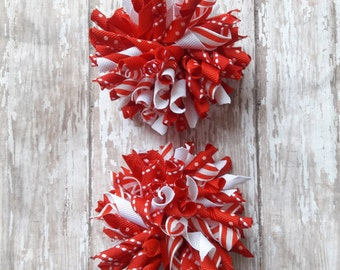 Red and White Korker Hair Bows,Korker Hair Bows,White and Red Korker Bows,Corker Hair Bows,Christmas Korker Hair Bows,Christmas Bows,Korkers