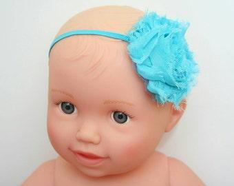 Blue Headband, Adult Headband, Newborn Headband, Shabby, Flower Headband, Blue, Baby Girl, Newborn, Girl, Headband