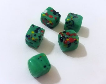 Green Multi-Colored Dice Beads-6 mm-5 Count