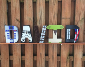 "8"" Star Wars Letters R2D2 Stormtrooper Chewbacca Yoda Darth Vader Bb-8 Luke Skywalker Princess Leia Han Solo Boba Fett C3PO Darth Maul"