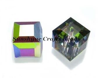 Swarovski Crystal Beads 12 Pcs 5601 CRYSTAL VITRAIL MEDIUM 4MM Faceted Cube Elements Bead