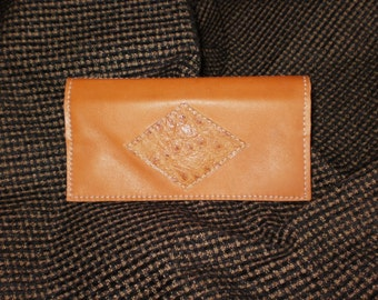 """Saddle-Tan Leather Checkbook Cover w/Snap Closure Coin Pocket/ Ostrich Accent / 2 Slot Compartments Inside / Size 4.5"""" x 8"""" / Leather Lined"""
