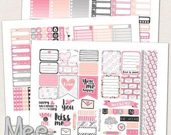 PRINTABLE planner stickers,Valentine's day planner stickers for use in Erin Condren vertical planner,Hello love pink weekly sticker kit,pdf