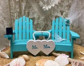 Beach Wedding, Cake Topper, Beach, Wedding, Wedding Cake Topper, Adirondack Chair, Coastal, Beach Chair, Seaside, Destination, Turquoise