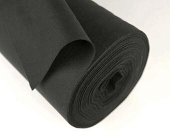 "Half Yard 18"" x 36"" Black 100% Merino Wool Felt"