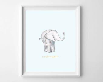 Watercolor Elephant Nursery Print - E is for Elephant - Nursery Animal Alphabet Print - Kids Room Decor - Baby Elephant Nursery Print