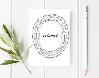 Printable Black and White Mother's Day Card - Modern Mother's Day Card - Minimal Mother's Day Card - Pretty Mother's day card - Digital Card